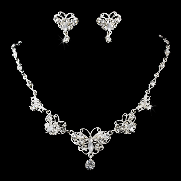 Clear Crystal Butterfly Necklace  Set