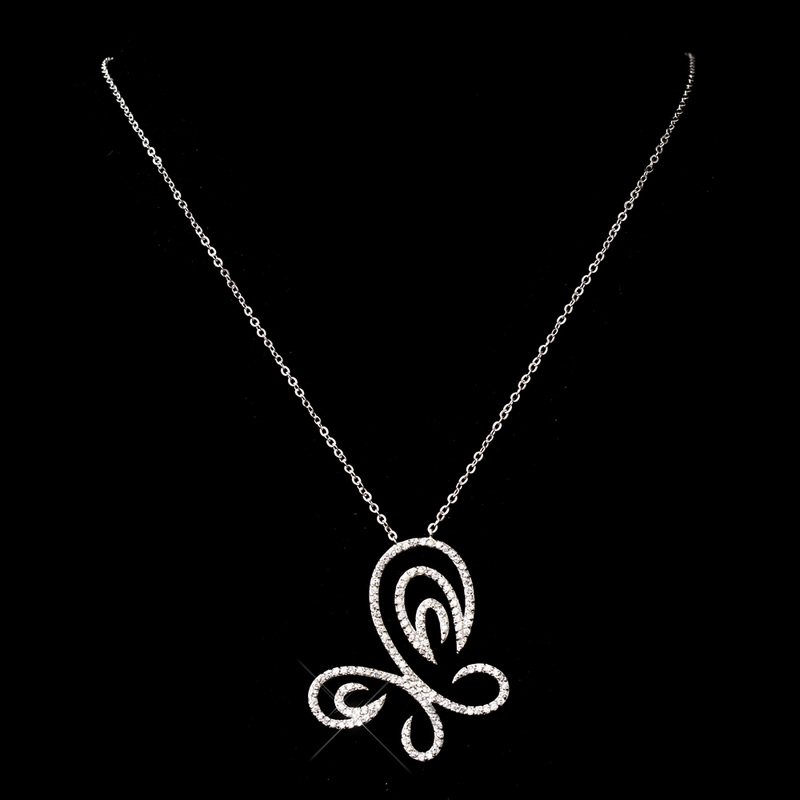 Cubic Zarconia Swirl Butterfly Necklace