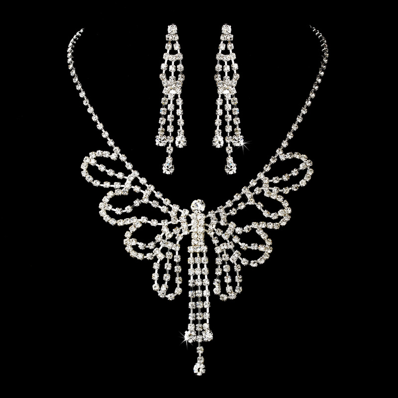 Clear Rhinestone Butterfly Necklace Earring Set