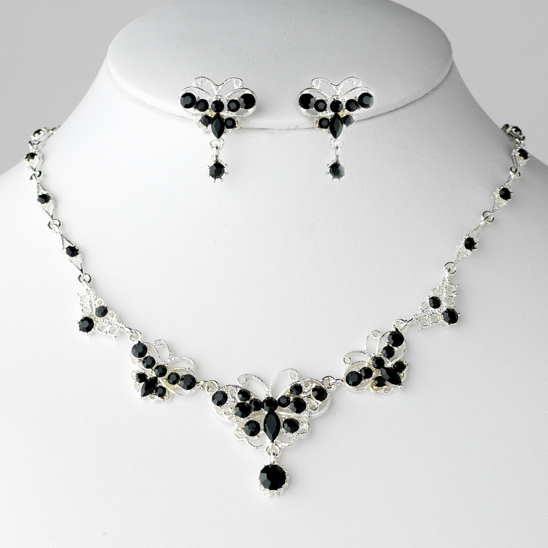Black Crystal Butterfly Jewelry Necklace & Earring Set