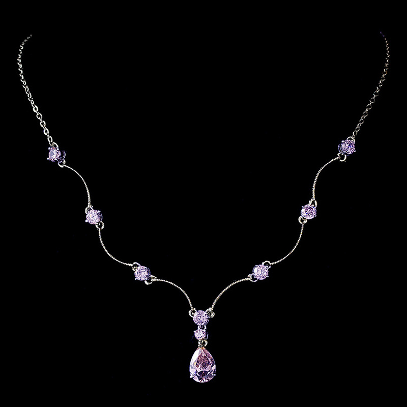 Silver Light Amethyst CZ Crystal Necklace