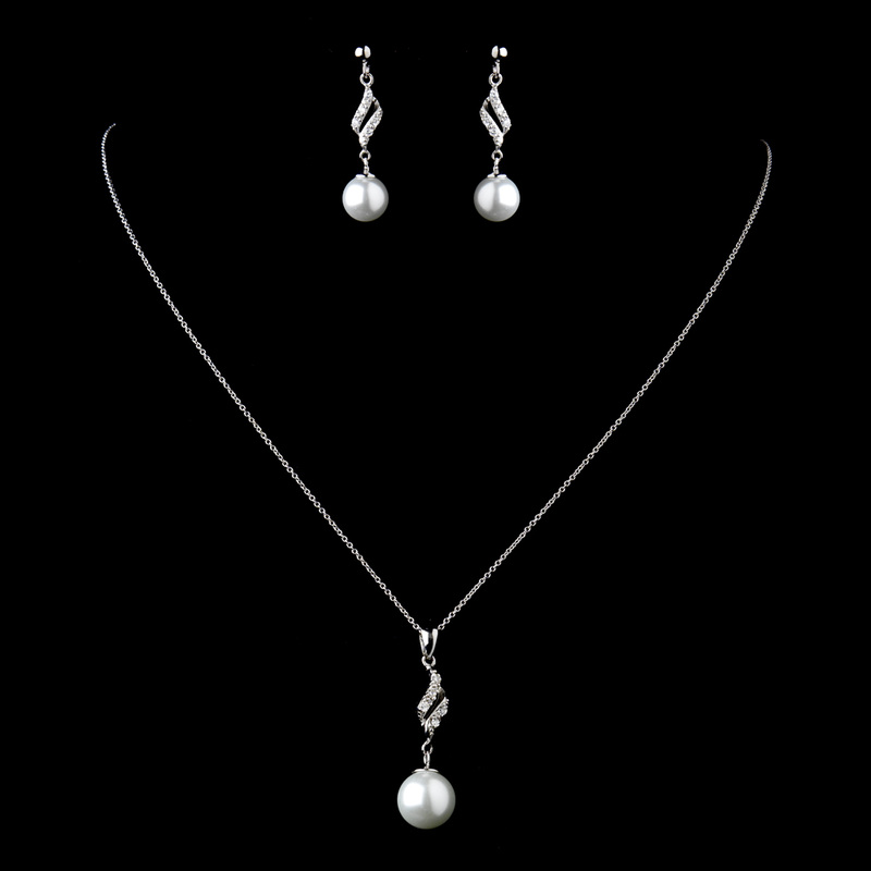 Solid 925 Sterling Silver CZ Crystal & Diamond White Pearl Necklace & Earrings Set