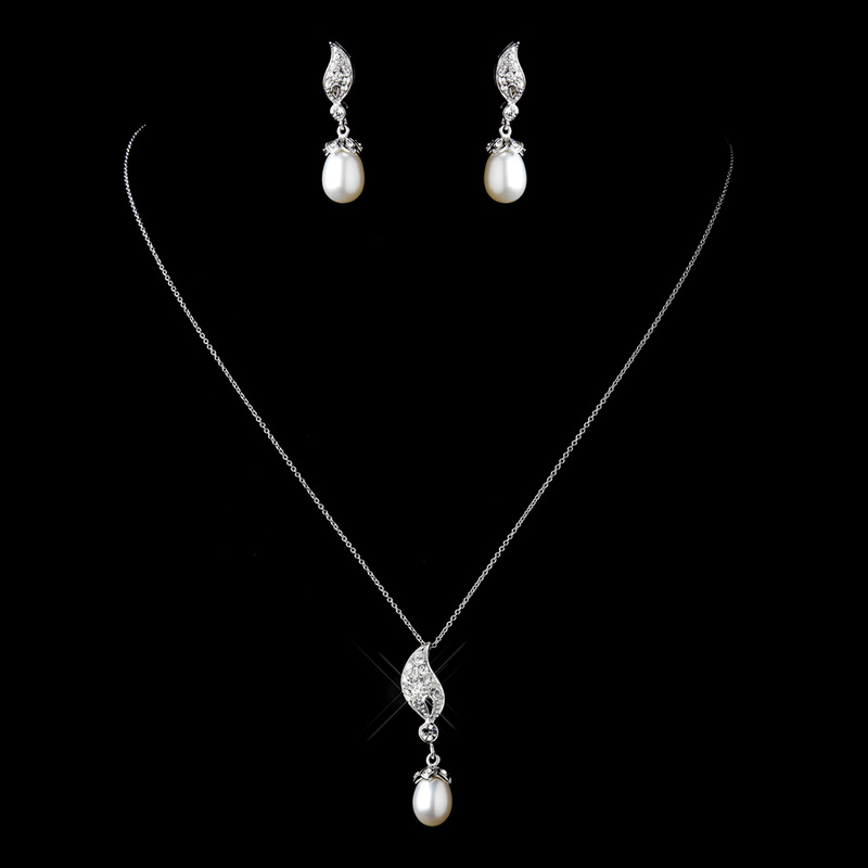 Solid 925 Sterling Silver CZ Crystal & Freshwater Pearl Drop Necklace & Earrings Set