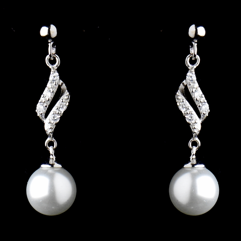 Solid 925 Sterling Silver CZ Crystal & Diamond White Pearl Earrings