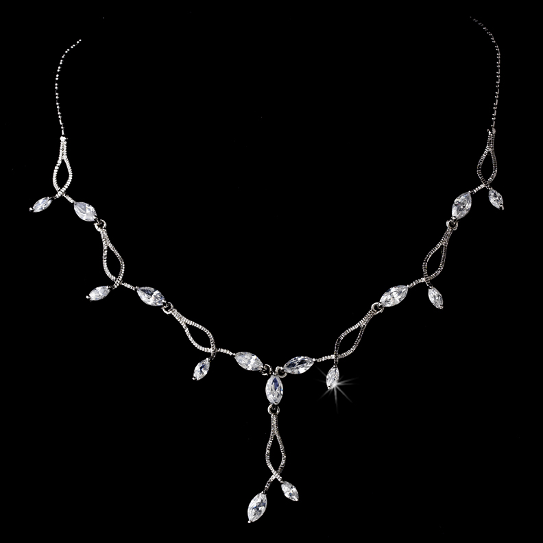 Silver Plated Floral-Vine Cubic Zirconia Necklace