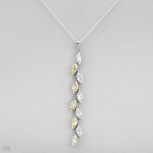 Cubic Zirconia Sterling Silver Vine Necklace