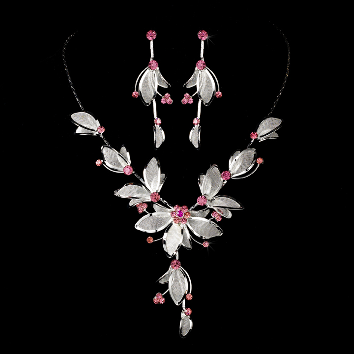 Silver Plated Floral Pink Necklace & Earring Set