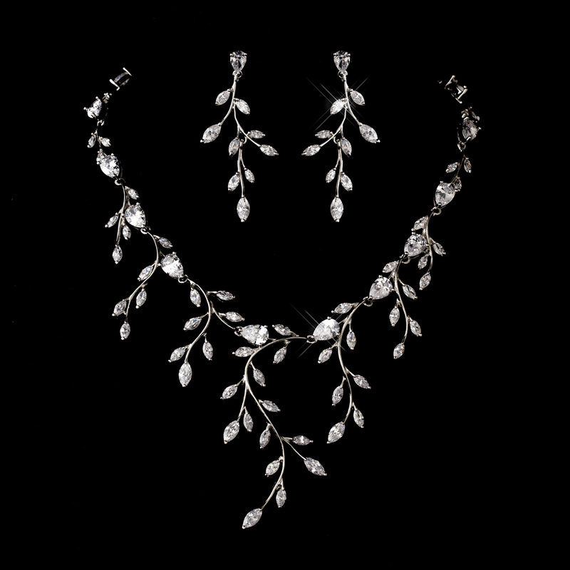Silver & Crystal Vine Necklace Earring Set