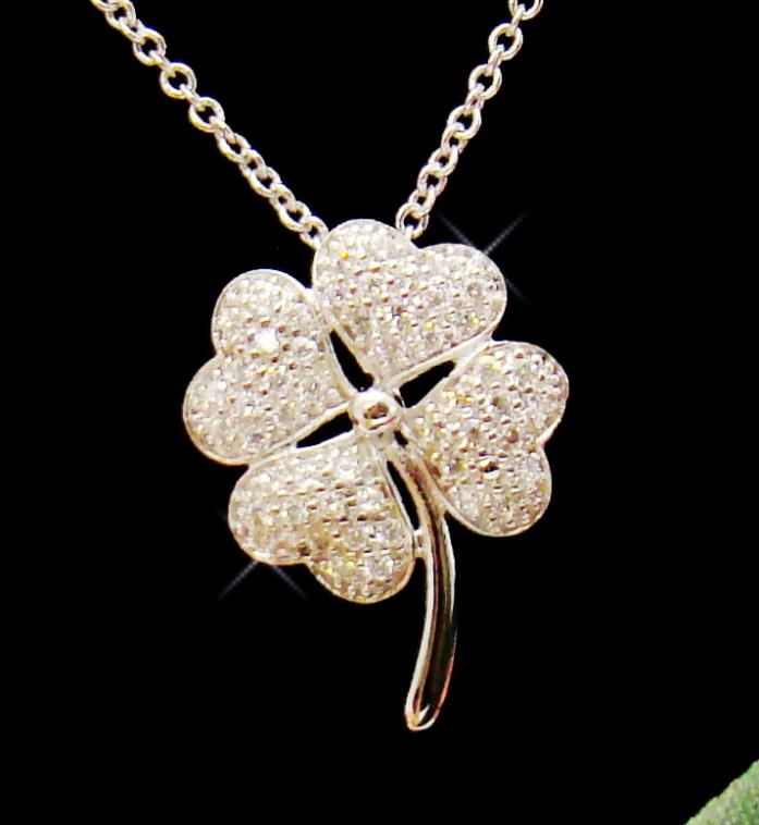 Silver Clear Pave CZ Four Leaf Clover Charm Necklace