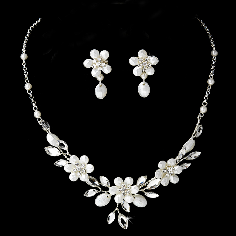 White Faux Pearl Crystal Silver Floral  Jewelry Set