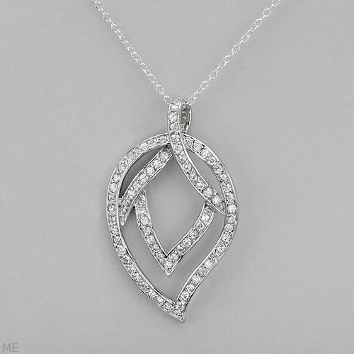 Sterling Silver Cubic Zarconia Leaf Necklace