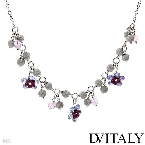 DV ITALY Crystal Flower Sterling Silver Necklace